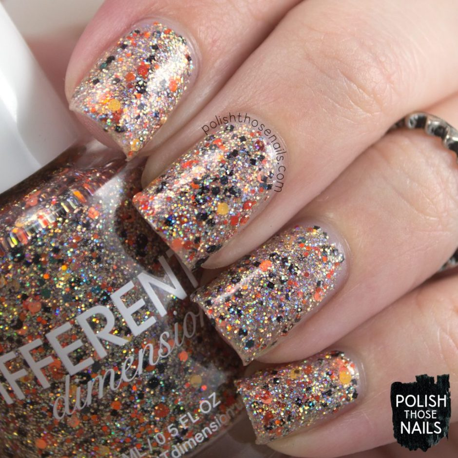 swatch, dream within a dream, silver, holo, orange, different dimension, indie polish, polish those nails, glitter