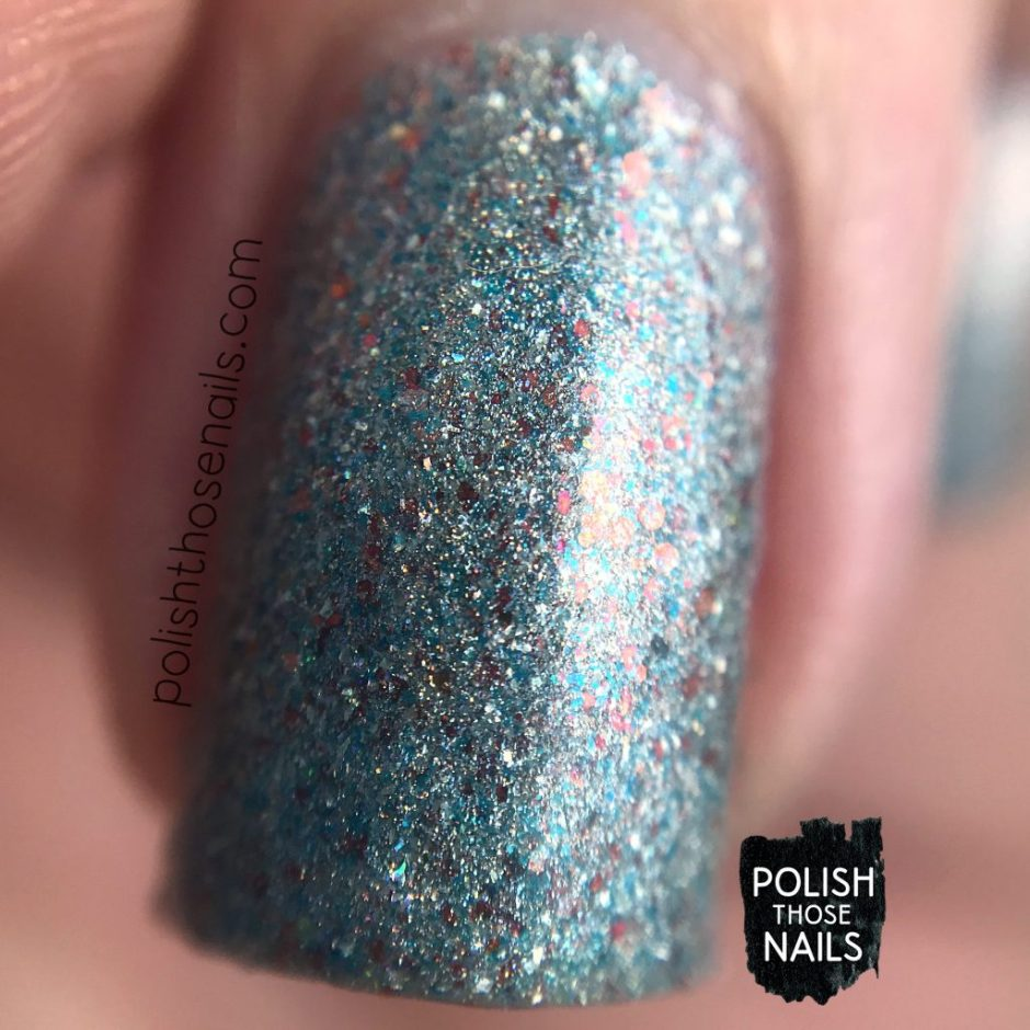 swatch, heaven from hell, silver, nails, nail polish, indie polish, different dimension, polish those nails, glitter, macro