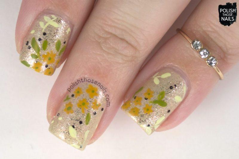 nails, nail art, nail polish, gold, polish those nails, flowers, floral