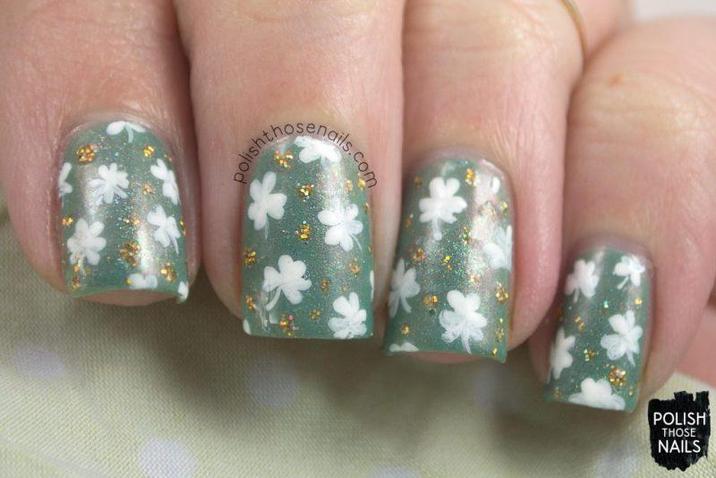 nails, nail art, shamrock, green, gold, indie polish, polish those nails, tonic nail polish,