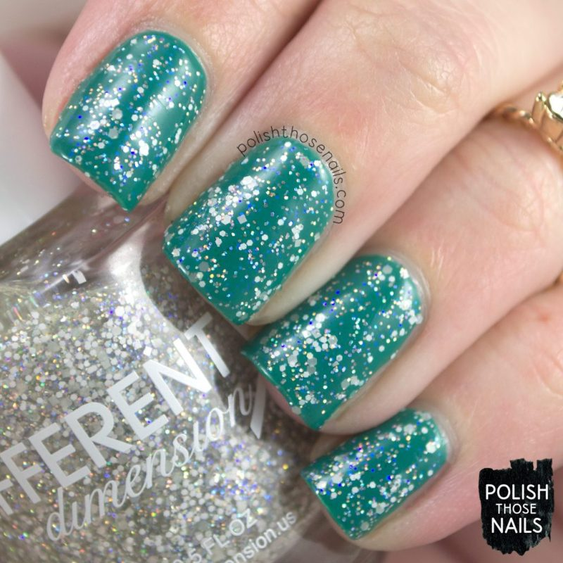 blizzard, teal, nails, nail polish, different dimension, glitter, polish those nails, indie polish, swatch