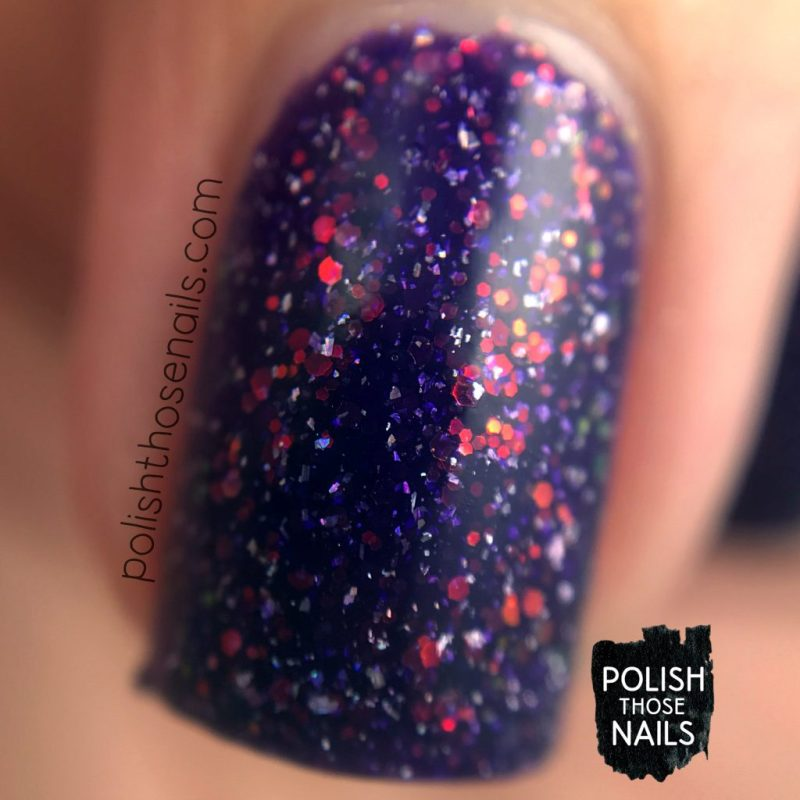 butterfly nebula, purple, nails, nail polish, indie polish, different dimension, polish those nails, glitter jelly, swatch, macro