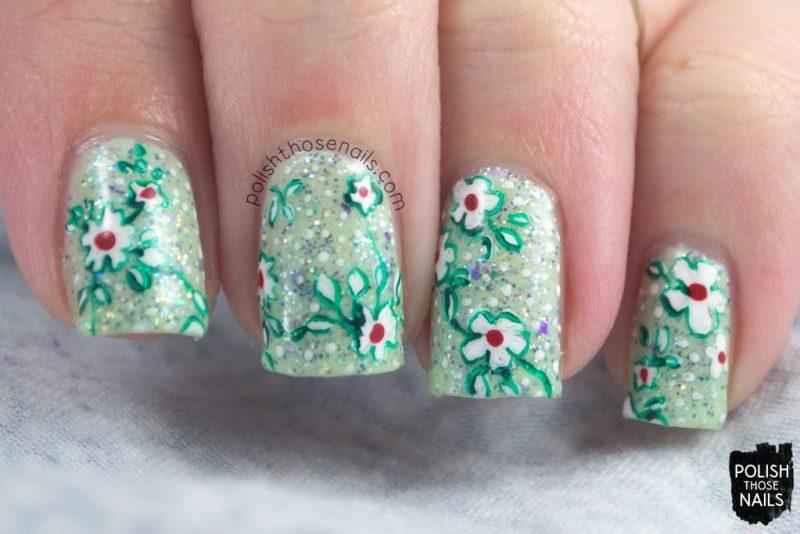 nails, nail art, nail polish, spring, florals, flowers, polish those nails, glitter