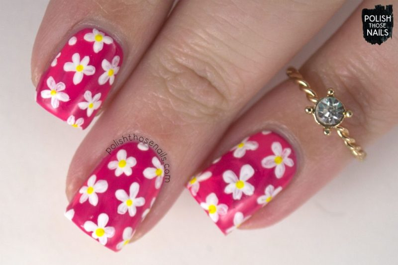 nails, nail art, nail polish, smoosh, sally hansen, flowers, floral, pink