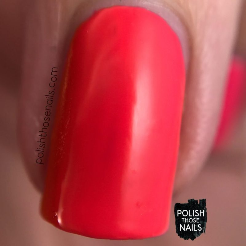 swatch, electric pop, coral, nails, nail polish, polish those nails, sally hansen, bright, macro