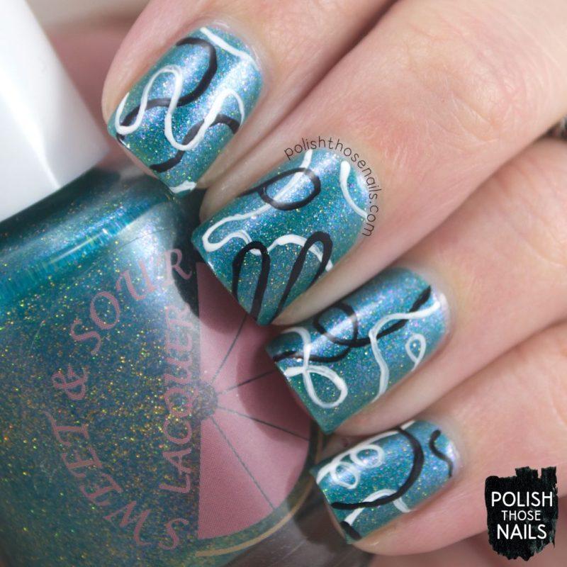 nails, nail polish, indie polish, sweet & sour lacquer, polish those nails, june 2017, turquoise, shimmer, nail art, squiggles