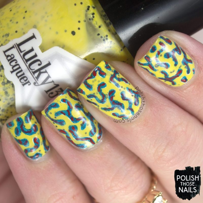 nails, nail art, nail polish, yellow, polish those nails, indie polish, squiggles, pattern