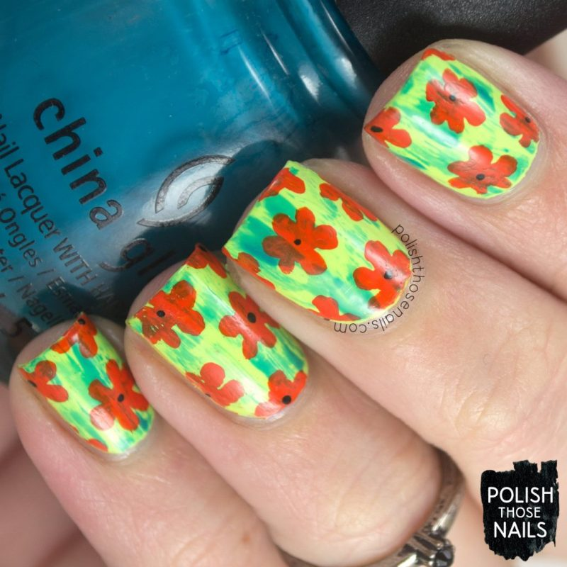 nails, nail art, nail polish, cartoon, florals, flower, polish those nails, distressed