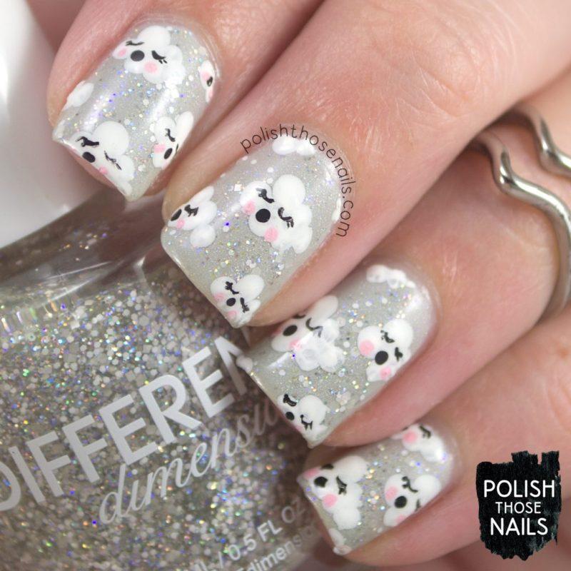 nails, nail art, nail polish, clouds, paper, pattern, polish those nails