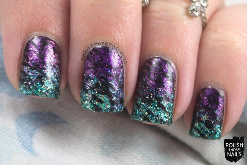 nails, nail art, nail polish, gradient, glitter, indie polish, polish those nails