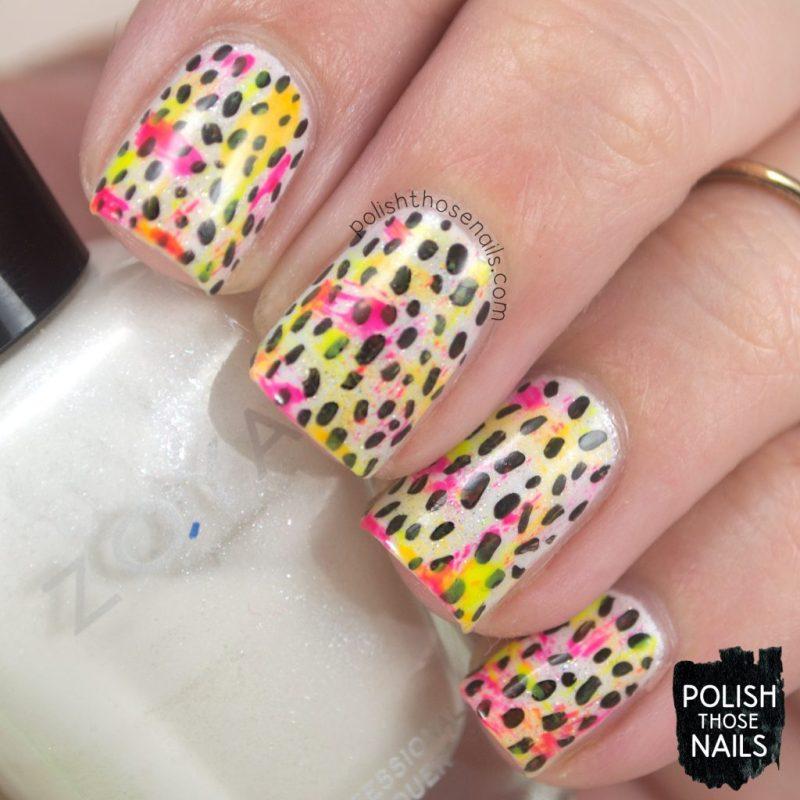 nails, nail art, nail polish, neon, polish those nails, polka dots