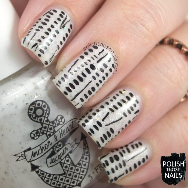 nails, nail art, nail polish, black & white, indie polish, polish those nails, pattern