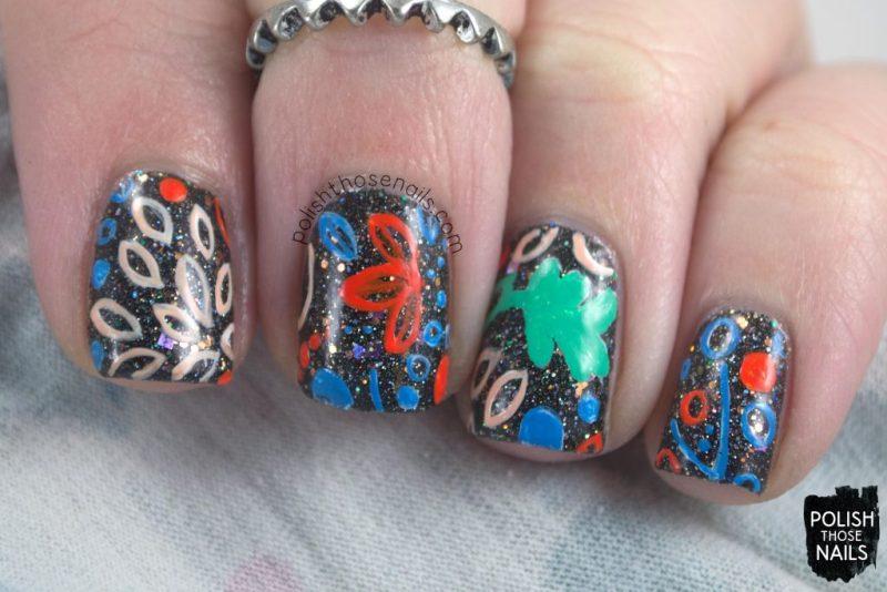 nails, nail art, nail polish, polish those nails, black, glitter, pattern,