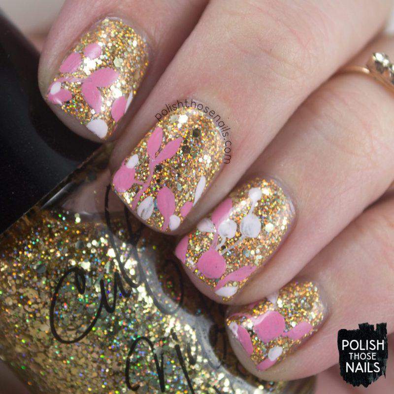 nails, nail art, nail polish, gold, glitter, polish those nails, pink, florals