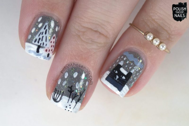 nails, nail art, nail polish, winter, cat, polish those nails, indie polish, free hand
