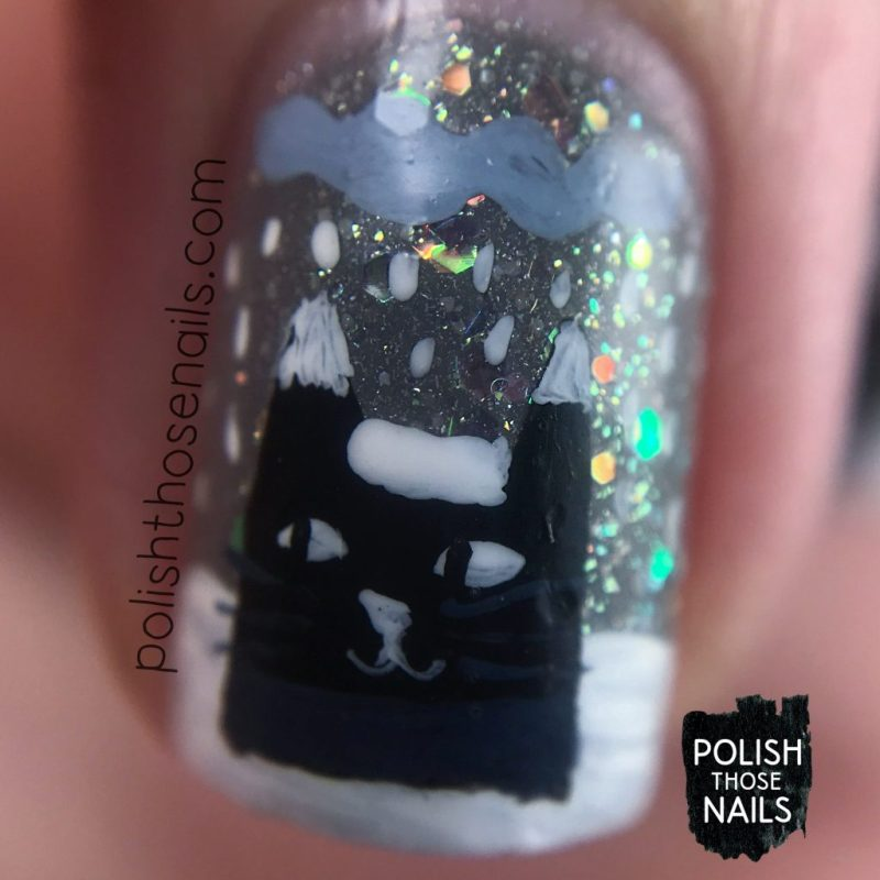nails, nail art, nail polish, winter, cat, polish those nails, indie polish, free hand, macro