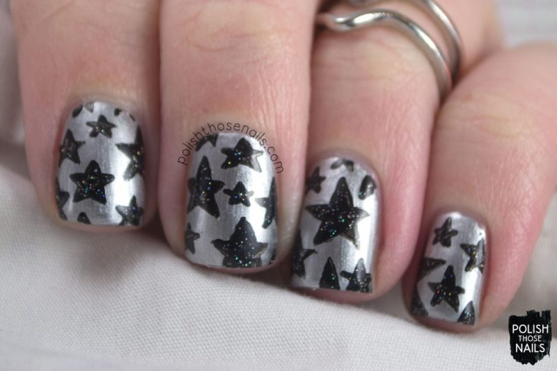 nails, nail art, nail polish, sally hansen silver stallion, metallic, polish those nails, stars, pattern