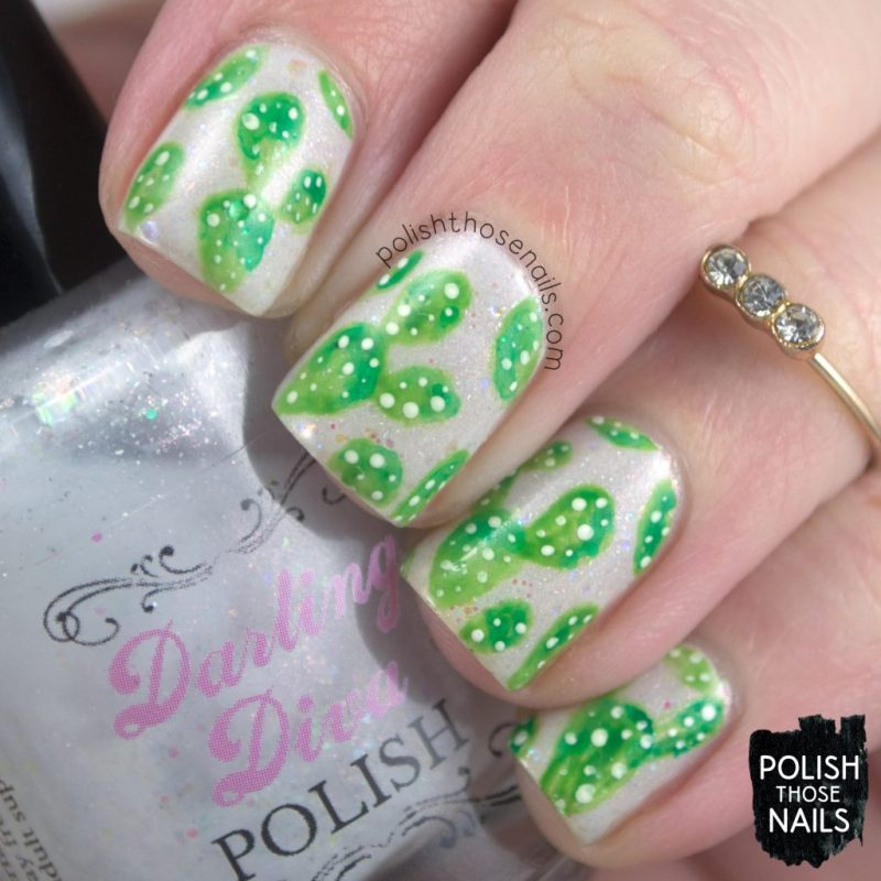 nails, nail art, nail polish, cacti, pattern, the digit-al dozen january birthdays, polish those nails, indie polish