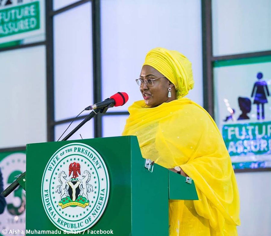 Nigeria's first lady heads campaign for husband's re-election