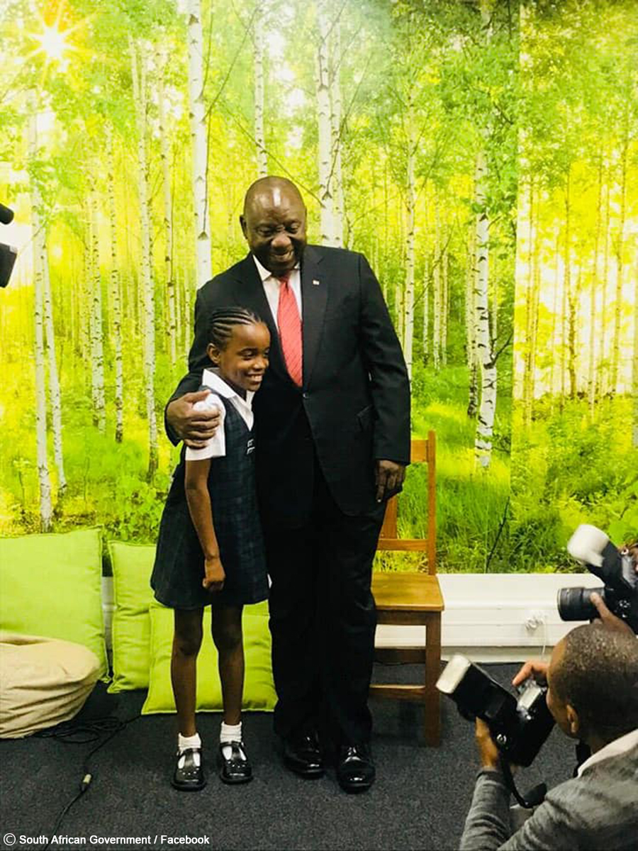 Young Daisy Ngedle meets President Cyril Ramaphosa