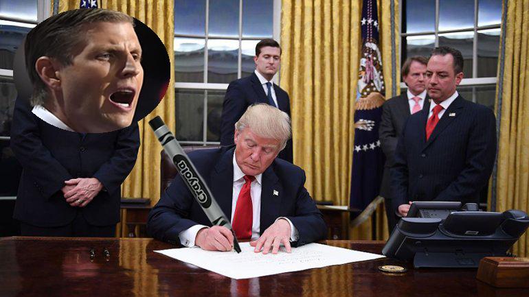 Trump Signs Declaration Congratulating His Son Eric For