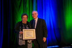 Shalala receiving award