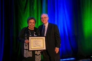 Shalala receiving award