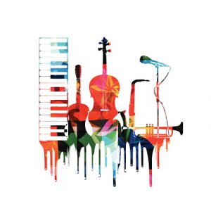 Colorful musical instruments design