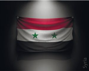 waving flag syria on a dark wall