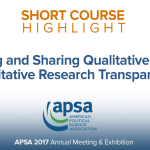 Short Course: Managing and Sharing Qualitative Data and Qualitative Research Transparency