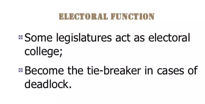 Nature of the electoral function