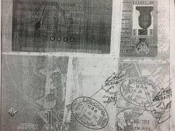 La copie du passeport de Mme Nsimba, avec le cachet des autorités Doubaïotes
