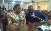Eve Bazaiba (MLC/ FRC) aux côtés d'Alain Atundu, porte-parole de la MP