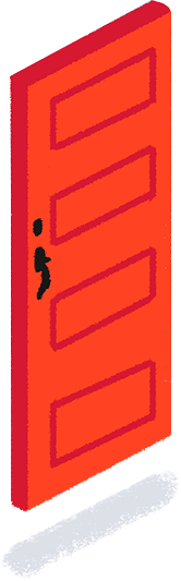 A red door to illustrate a new idea.