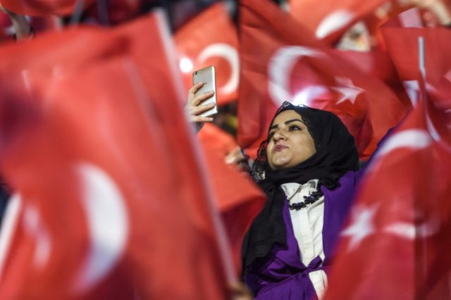 Some 12,000 women filled on March 5 an Istanbul arena in support of a Yes vote in the referendum | Ozan Kose/AFP via Getty Images