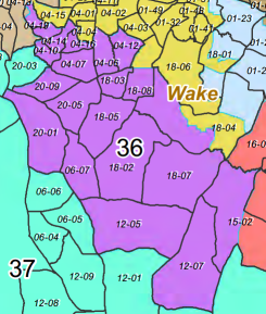 Map of North Carolina House District 36, currently occupied by Rep. Nelson Dollar (R-Cary).
