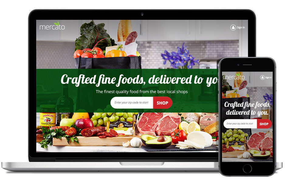 Mercato is a fully responsive online marketplace for specialty food shops.