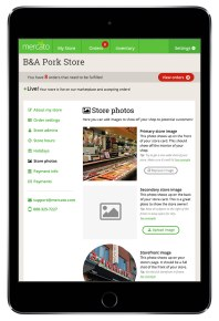 "Merchant settings ""store photography"" (iPad)"
