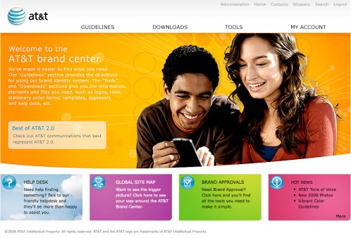 Homepage for AT&T Brand Center