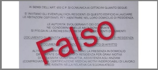 Falso volantino intestato ministero dell'Interno