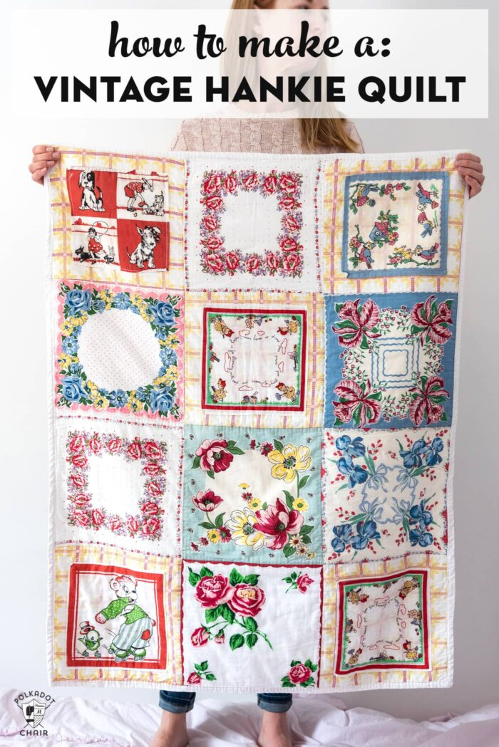 Sewing tutorial: Make a quilt from vintage handkerchiefs
