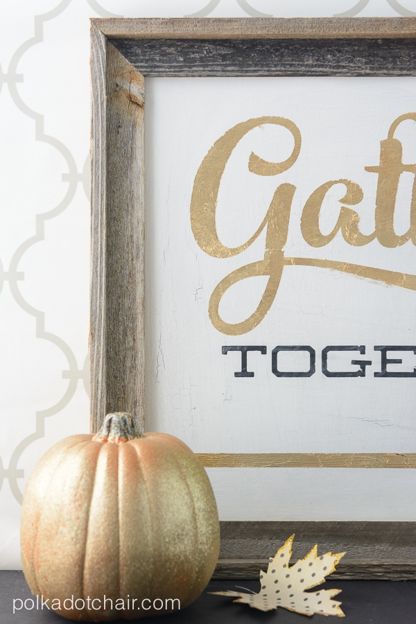 Gold Leaf Signs For Thanksgiving Gather Together