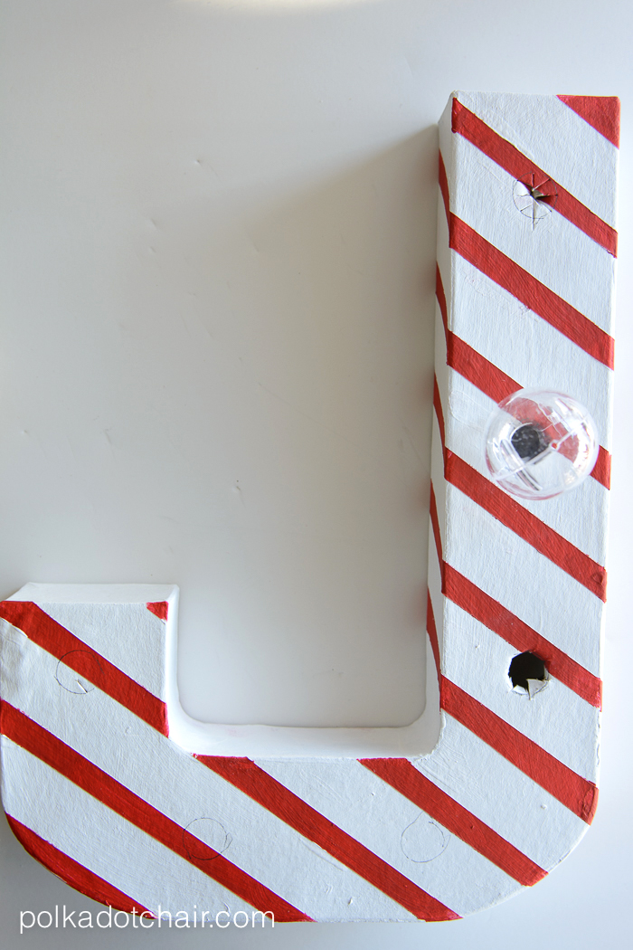 DIY Candy Cane Christmas Marquee Letters On Polkadotchair