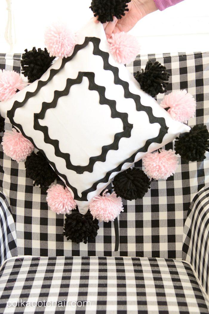 Cute DIY Pom Pom Pillow by Melissa Mortenson of polkadotchair.com