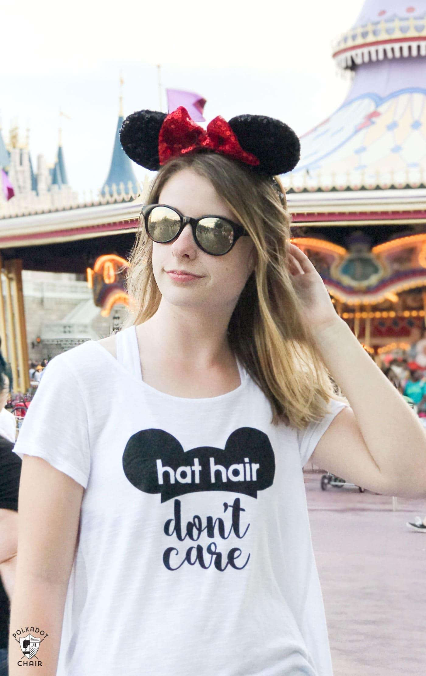 DIY Disney T Shirt Hat Hair Dont Care The Polka Dot Chair