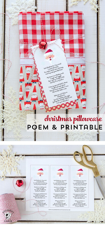 Free Printable Christmas Pillowcase Poem The Polka Dot Chair