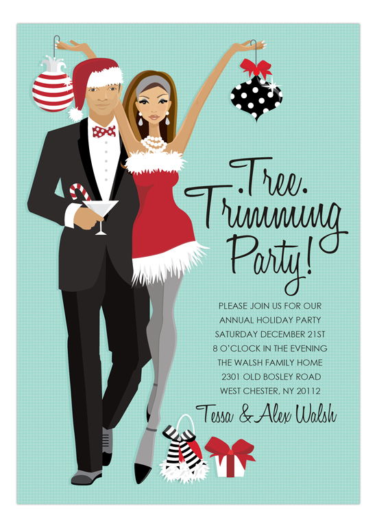 African American Tree Trimming Party Invitation Polka