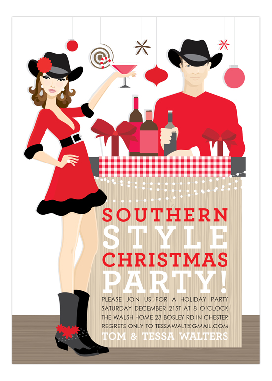 Brunette Southern Style Christmas Invitation Couples