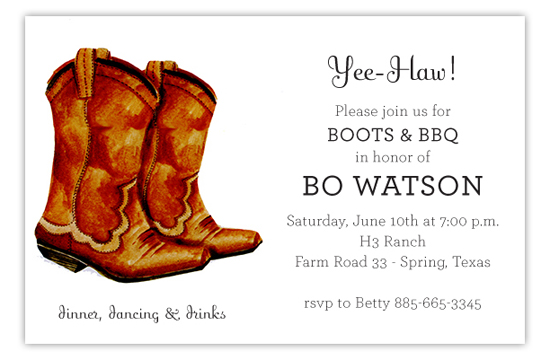 Classic Cowboy Boot Invitation Polka Dot Design