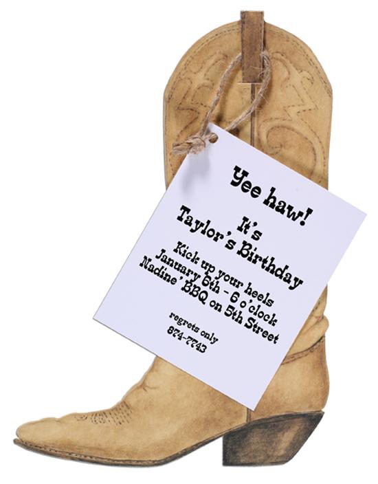 Cowboy Boot Invitation Polka Dot Design